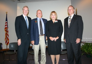 SCC President Dr. Dan L. Terhune (left) and SCC Executive Vice President Henry Giles (far right) inducted college retirees Tommy Bulman and Myra Smith into the SCC Wall of Fame at a ceremony on the SCC central campus on Tuesday, September 22.