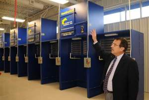 Dr. Just, vice president for corporate & community education, stands in the welding labe in the recently completed Union County Advanced Technology Center.  Officials at the center say welding is a high-demand field.