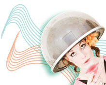 Girl under Hair Dryer Graphic for Cosmetology