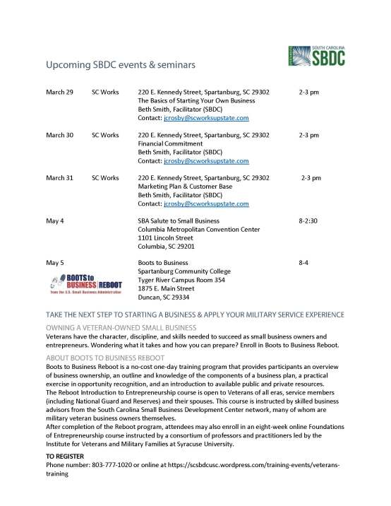 Upcoming SBDC events 2016